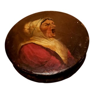 19th Century Hand Painted Papier-Mâché Portrait Snuff Box For Sale