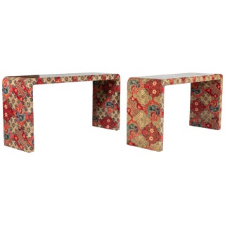 Custom Chinoiserie Batik Fabric Wrapped Waterfall Console Tables - a Pair