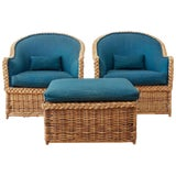 Image of Pair of McGuire Rattan Wicker Lounge Chairs and Ottoman For Sale