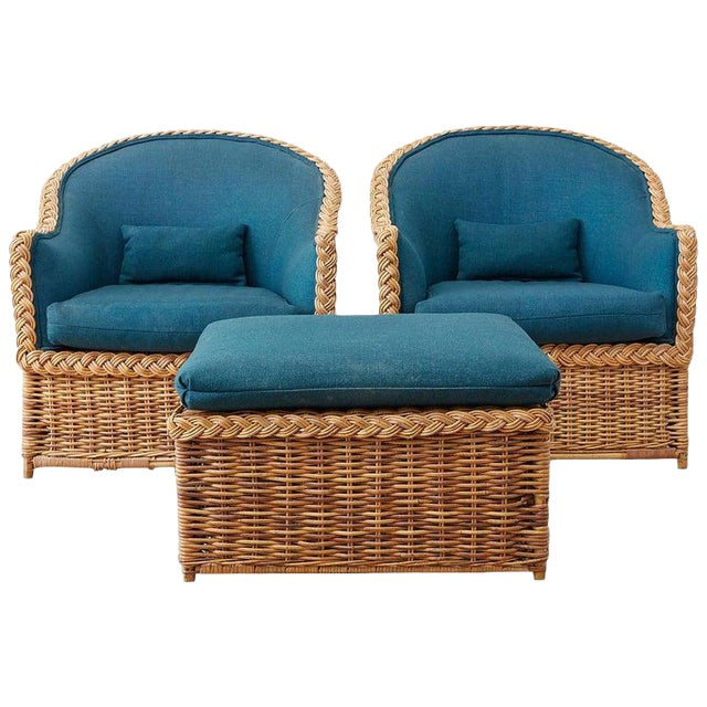 Pair of McGuire Rattan Wicker Lounge Chairs and Ottoman For Sale