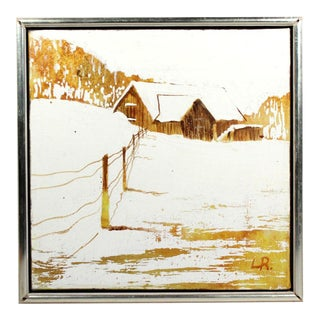 """Mid-Century Winter Snow Farmhouse Small 11"""" Square Oil Painting - Signed & Frame For Sale"""