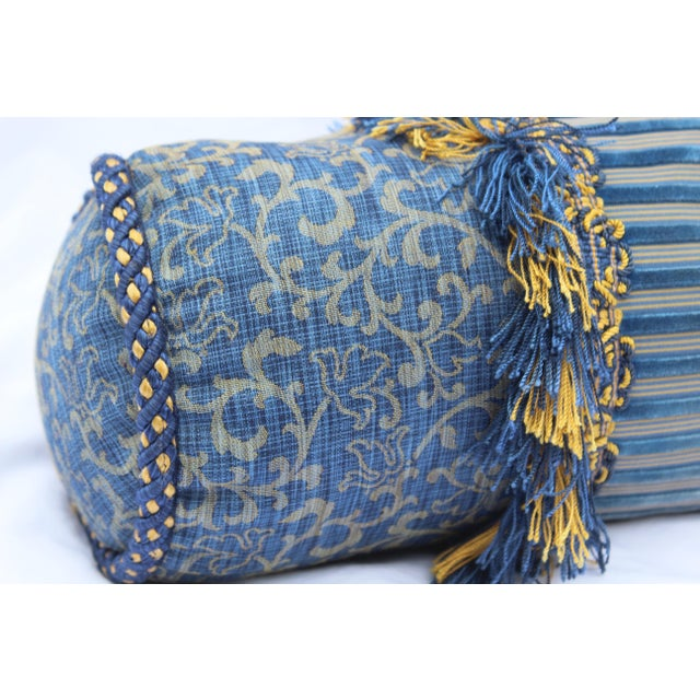 Contemporary Small Small Silk and Velvet Bolster Pillow in Blue and Gold For Sale - Image 11 of 13