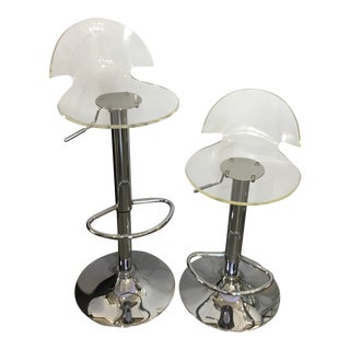 Modern Lucite and Chrome Adjust Bar Stools - a Pair For Sale