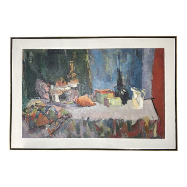 Mid 20th Century Abstract Original Oil Still Life Painting, Framed For Sale