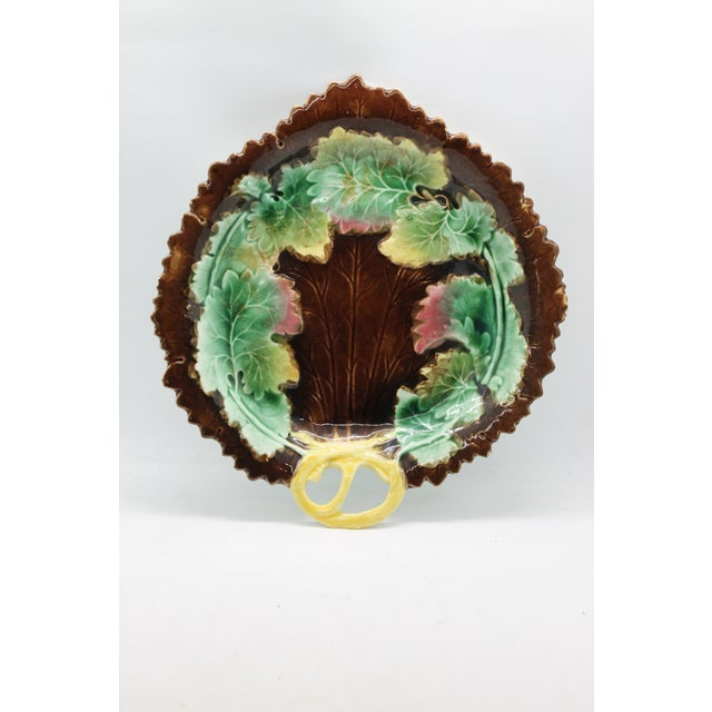 Early 1900's Antique Hand Painted Porcelain English Majolica Leaf Platter For Sale In Los Angeles - Image 6 of 6