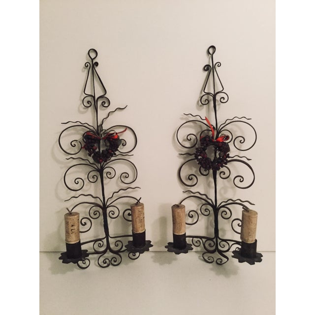 Brown Italian Metal Scroll Candle Sconces - A Pair For Sale - Image 8 of 8