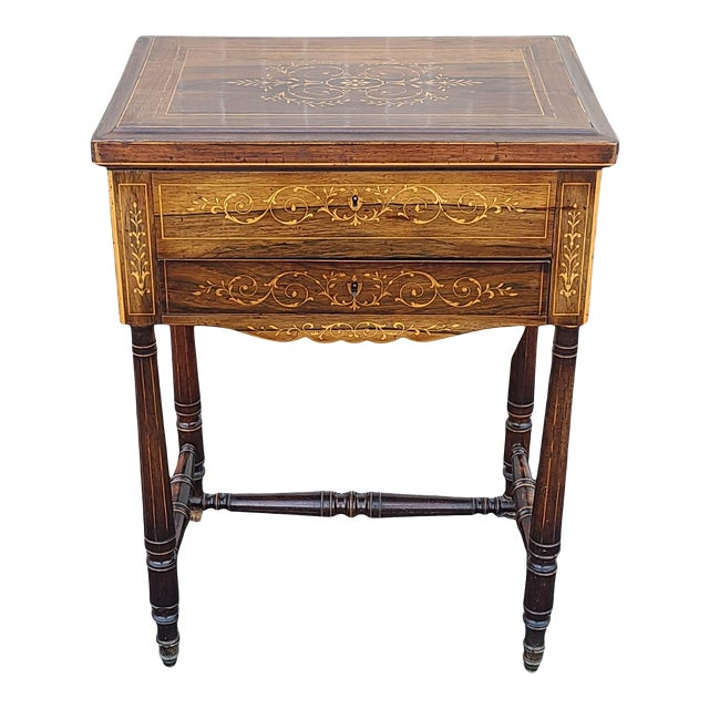 Antique English Regency Inlaid Rosewood 19th Century Sewing Work Table C1890 For Sale