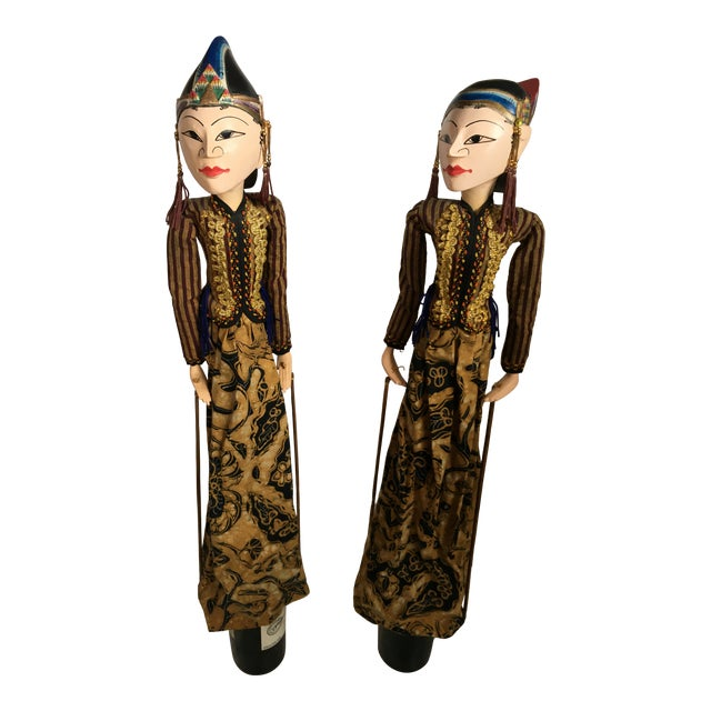 Indonesian Rod Puppets - a Pair For Sale