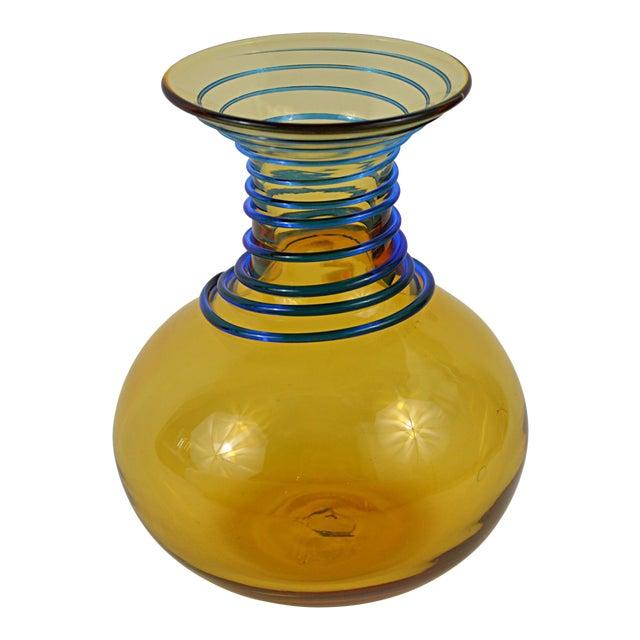 Vintage Blenko Amber Blue Spiral Vase For Sale