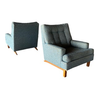 Kroehler Upholstered Club Chairs - a Pair For Sale