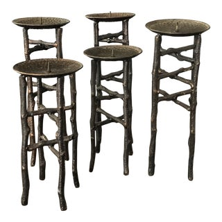 Rustic Iron Candlesticks - Set of 5