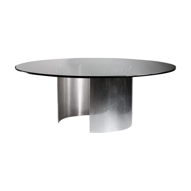 Aluminum & Smoked Glass Coffee Table After Paul Mayen For Sale