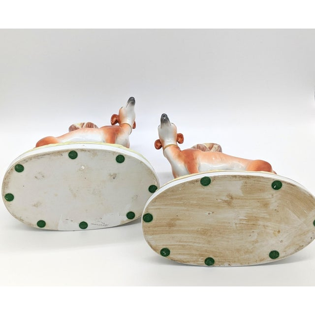 White 20th Century Staffordshire Greyhound/ Whippet Dog Spill Vases - a Pair For Sale - Image 8 of 9