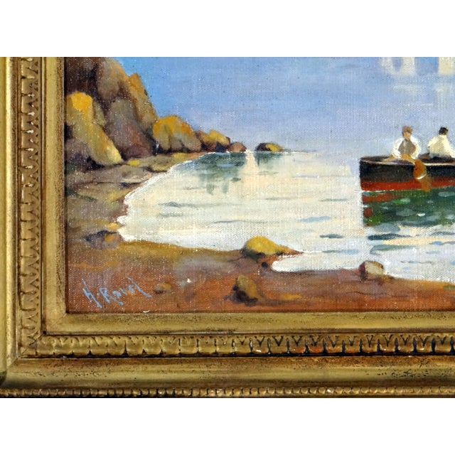 Canvas Italian Coastal Painting With Mount Vesuvius by Henry Ravell (1864 – 1930 California) For Sale - Image 7 of 12