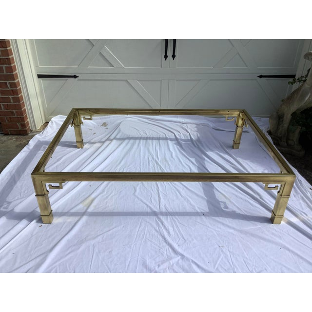 Hollywood Regency Mastercraft Brass Coffee Table W/ Greek Key Design For Sale - Image 3 of 7