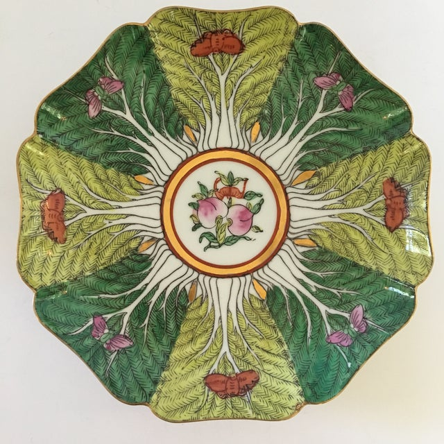 Mid-Century Porcelain Bok Choy Leaf & Butterfly Decorative Scalloped Plate For Sale - Image 11 of 11