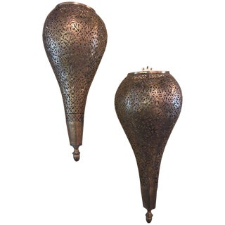 Pair of Tear Drop Shaped Brass Sconces For Sale