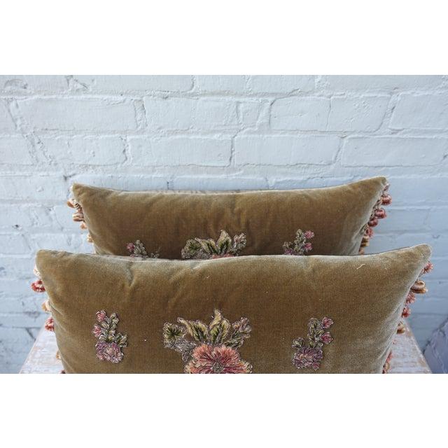 Brown Silk Velvet Floral Applique Pillows - A Pair For Sale - Image 5 of 5