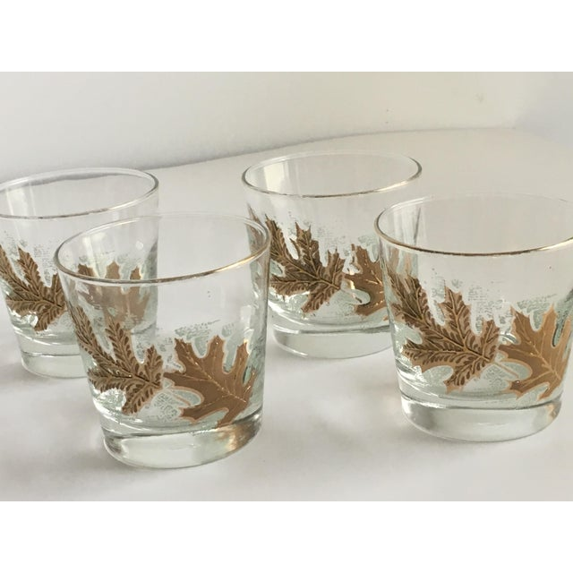 Mid-Century Modern Culver Ltd. Gold Leaf Low Ball Glasses - Set of 4 For Sale - Image 3 of 7