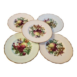 Vintage Fruit Plates by Regency of England - Set of 5 For Sale