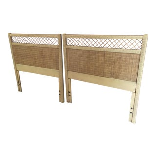 1980s Vintage Henry Link Wrapped Rattan Trellis Twin Sized Headboards - A Pair For Sale