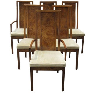 Thomasville Vintage Burled Set of Six Dining Chairs For Sale