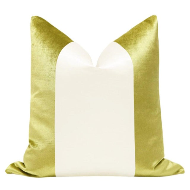 "Pair of 22"" Chartreuse velvet pillows with an off-white alabaster silk center panel. Meticulously handcrafted with serged..."