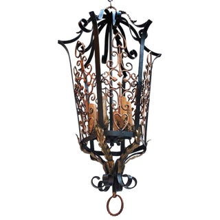 Large Antique Wrought Iron and Bronze Lantern For Sale