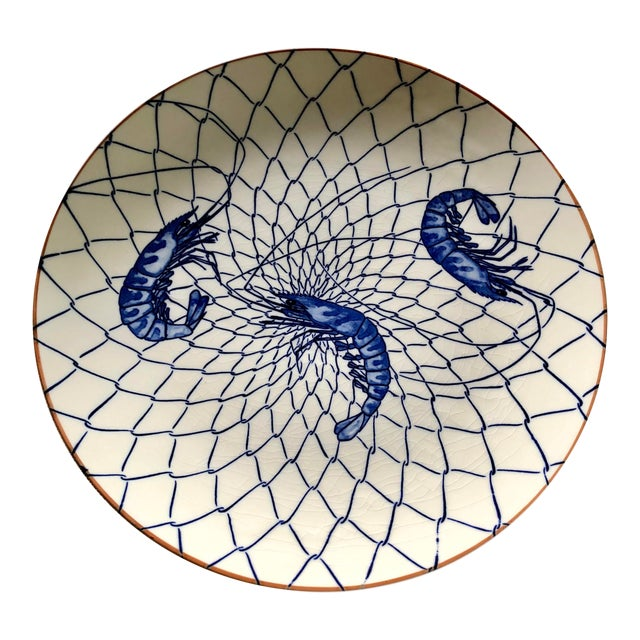 Japanese Blue & White Shrimp Platter For Sale