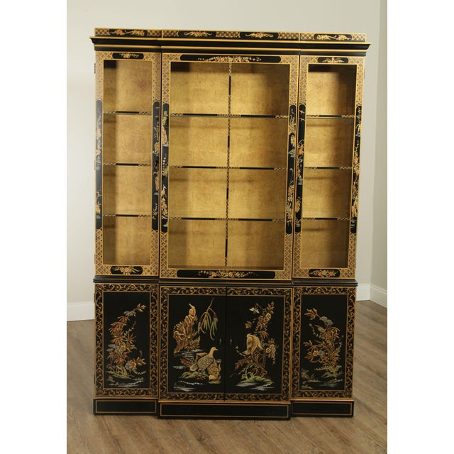 High Quality American Made Ebonized China Cabinet with Asian Motiff Chinoserie Paint Decoration Lighted Interior,...