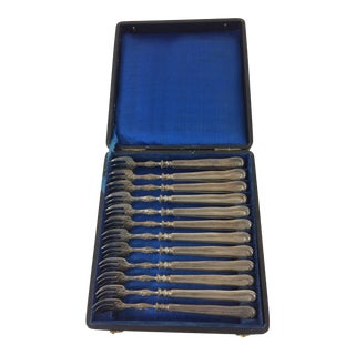 French Sterling Silver Oyster Forks with Crest in Box - Set of 12 For Sale