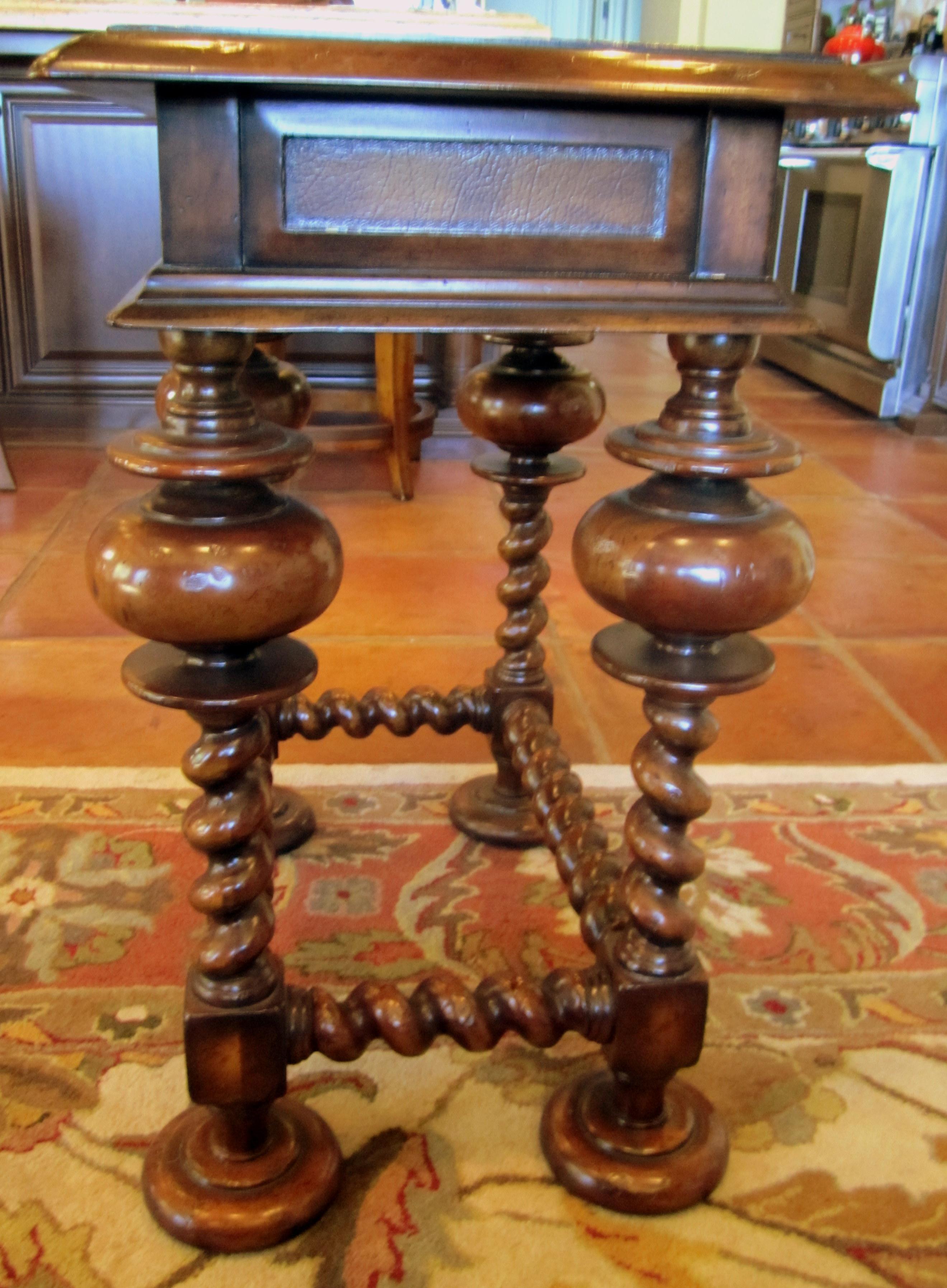 John RIchard Fine Furniture Leather Inlay U0026 Turned Leg Wood Side Table    Image 3 Of
