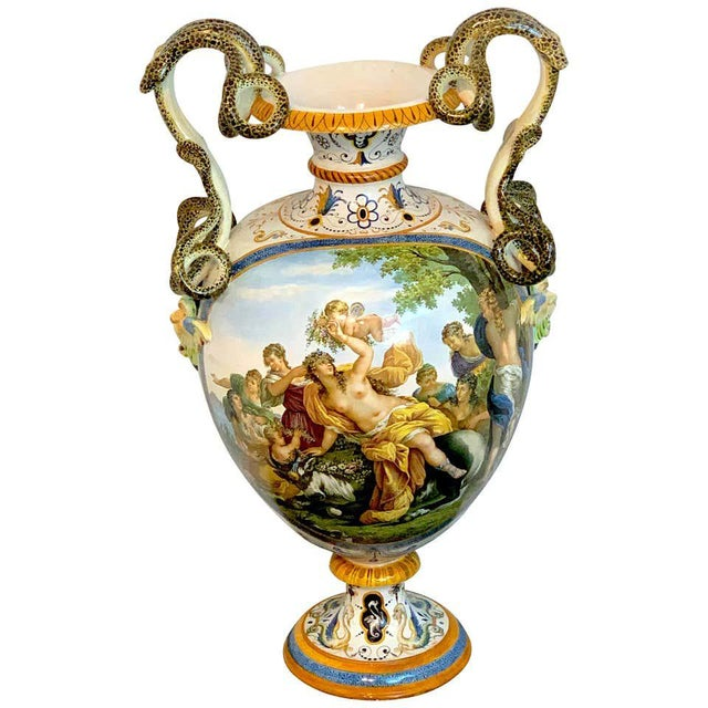 Stunning Ginori Majolica Allegorical Serpent Handled Vase For Sale - Image 13 of 13