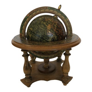 1970s Vintage World Italian Globe With Stand Zodiac For Sale