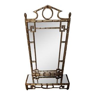 Gilt Faux Bamboo Mirror by Labarge & Shelf French For Sale