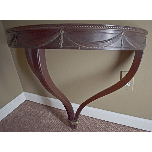 Antique Wall-Mounted Demi-Lune Table, Carved Mahogany With Gilt Accents - Image 2 of 9