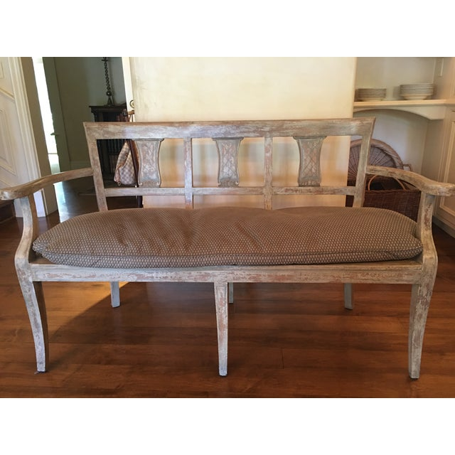 Vintage French Washed Finish Bench - Image 3 of 3