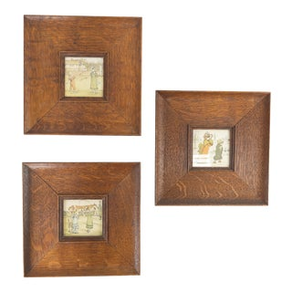 Mid 20th Century Kate Greenaway Prints in Oak Frames - Set of 3 For Sale