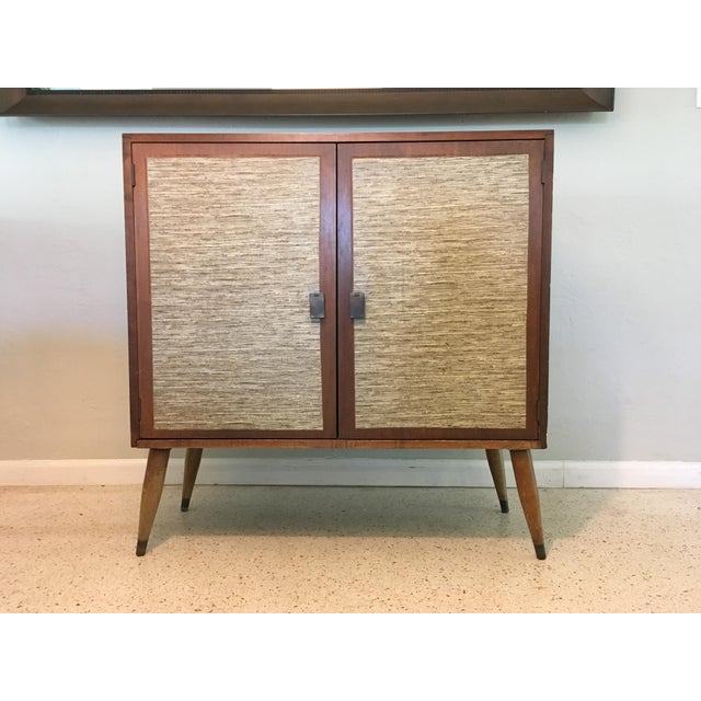 Mid-Century Cabinet with Woven Doors - Image 2 of 9