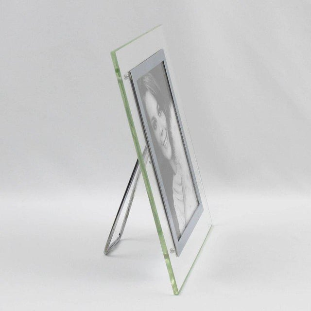 French French Hollywood Regency Glass and Chrome Picture Photo Frame For Sale - Image 3 of 5