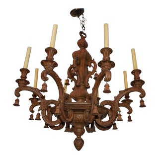 1920s Large Carved Wood Chandelier From Doheny Mansion in Beverly Hills For Sale