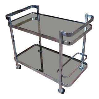 Orsenigo - Vintage Italian Chrome & Glass Bar Cart Trolley For Sale