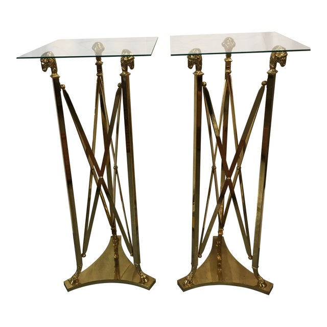 Brass Stands in the Maison Jansen Style With Sheep's Heads - a Pair For Sale