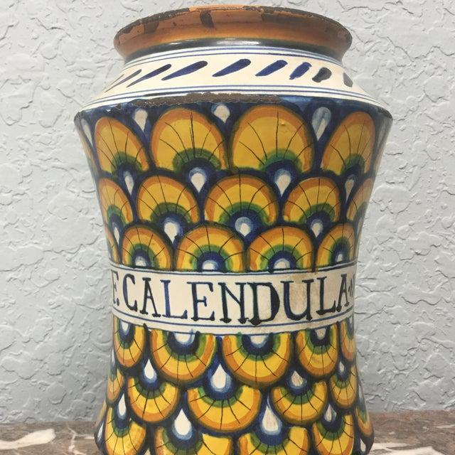 17th Century 17th Century Italian Yellow Maiolica Pottery Albarello Drug Jar For Sale - Image 5 of 9