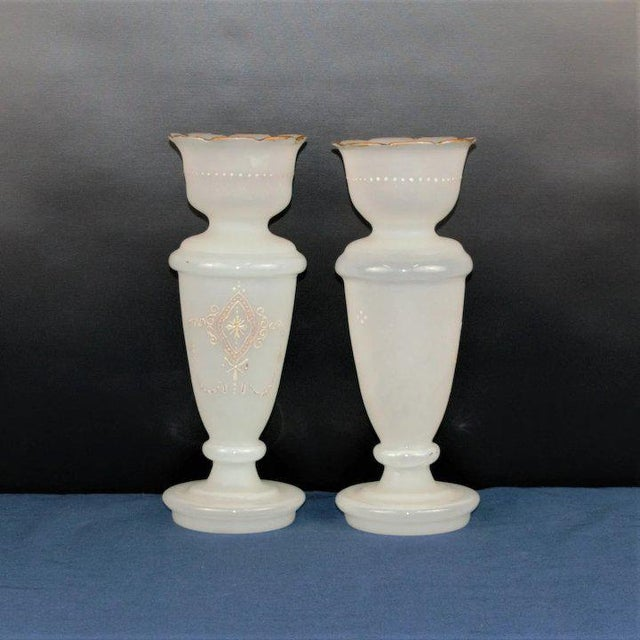 A nice pair of Bristol glass vases. There is considerable ware but no breaks, cracks or dings. Priced accordingly Size:...