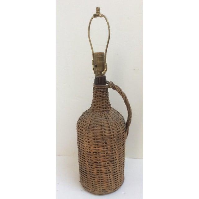 Woven Wicker Encased Wine Jug Lamp For Sale - Image 4 of 6