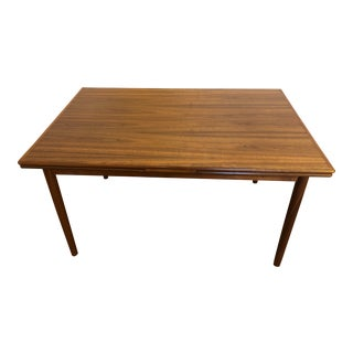 Danish Modern Walnut Expandable Draw Leaf Dining Table, Made in Denmark For Sale