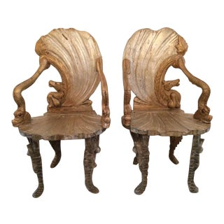 Late 19th Century Traditional Gold Wood Grotto Arm Chairs - a Pair