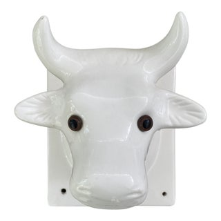 Mid 20th Century Vintage White Porcelain Cow Bull Wall Sculpture For Sale