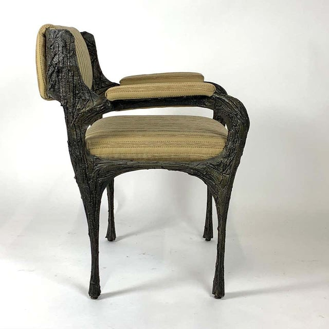Paul Evans Midcentury Brutalist Sculpted Bronze Patinated Pe105 Chairs - a Pair For Sale - Image 10 of 13